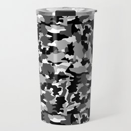 black and white Background Pattern Camo Travel Mug