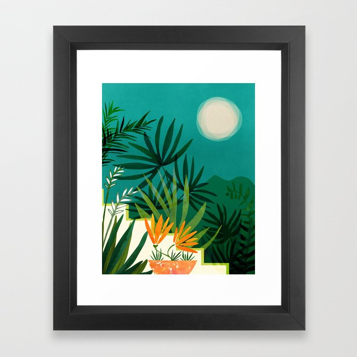 Tropical Moonlight / Night Scene Illustration Framed Art Print