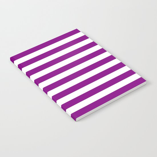 Horizontal Stripes (Purple/White) Notebook