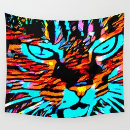Nina the Wild Pixelated Cat Wall Tapestry