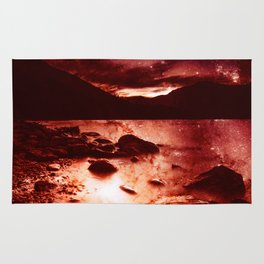 Magical Mountain Lake Red Planet Rug