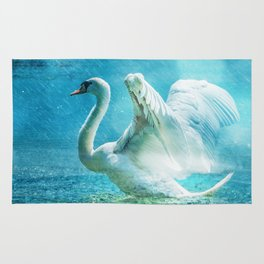 White Swan During a Summer Shower Rug