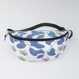 Blue Leaves pattern,  blue, white, grey, leaves. Fanny Pack