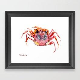 Crab, red pink orange kitchen artwork design Framed Art Print