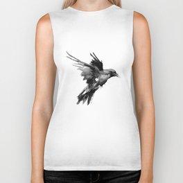 Flying Raven. tribal raven lover black and white raven decor Biker Tank
