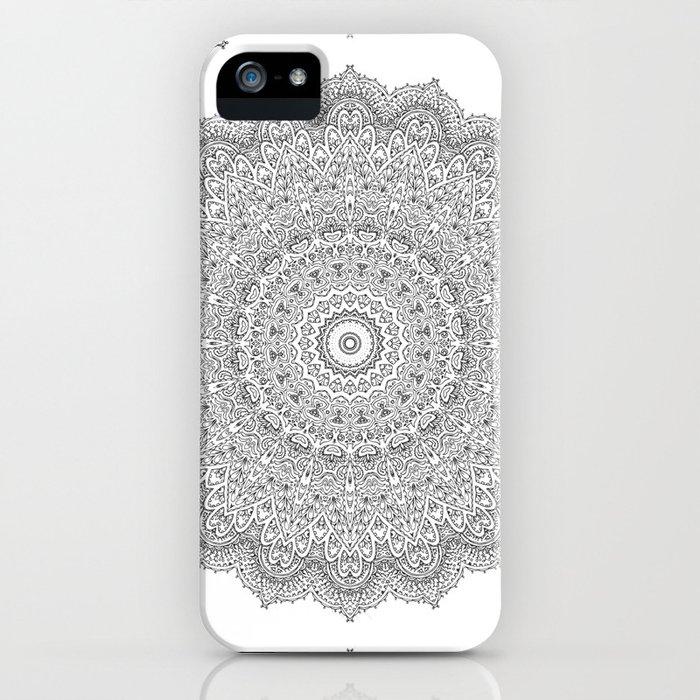 white and black mandala iPhone Case