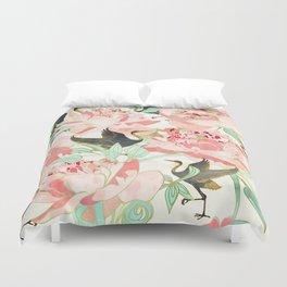 Floral Cranes Duvet Cover
