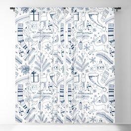 Doodle Christmas pattern blue Blackout Curtain