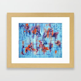 Blue Line Abstract Modern Acrylic Painting, Blue Home Decor Framed Art Print
