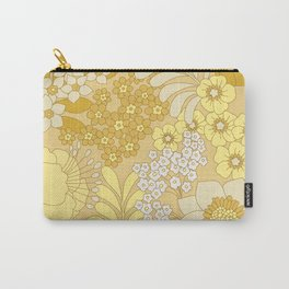 Yellow, Ivory & Brown Retro Floral Pattern Carry-All Pouch