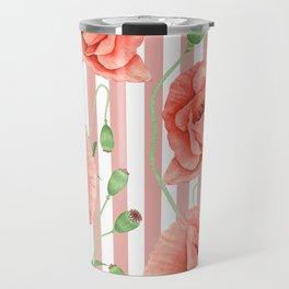 Poppies Dusty Pink Stripes Travel Mug