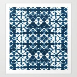 Tie dye, Shibori, indigo, chevron print Art Print