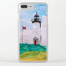 Cape Poge Lighthouse, Martha's Vineyard watercolor Clear iPhone Case