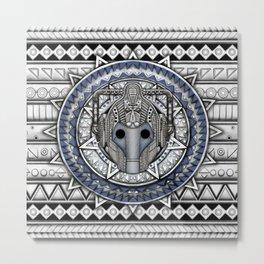 Aztec Robot Pencils sketch Art Metal Print