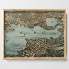 Vintage Pictorial Map of Lake Chautauqua NY (1885) Serving Tray
