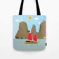 vietnam Tote Bags featuring Vietnam View by Design4u Studio