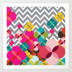 Chevron Blooms Art Print