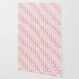 Girly rose gold & blush pink pineapple pattern Wallpaper