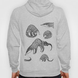 Animal Pattern, Pangolin, Manis, Monochrome Art, Black and white, Animals lovers gifts, Vets and pet Hoody