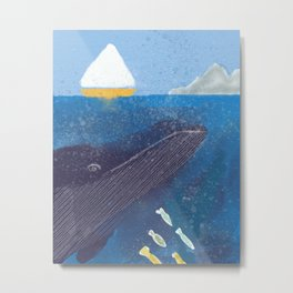 The Whale And The Yellow Sail Boat Metal Print