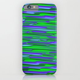 Horizontal vivid curved stripes with imitation of the bark of a green tree trunk. iPhone Case