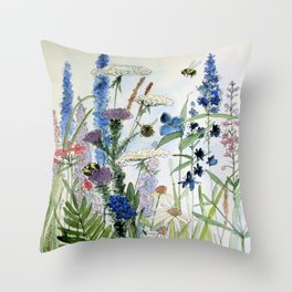 Wildflower in Garden Watercolor Flower Illustration Painting Throw Pillow