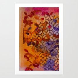 a piece of orange pink and purple Art Print