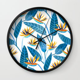 Strelitzia Flowers - Blue Wall Clock