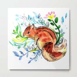 Cute Korea squirrel in sping flowers Metal Print