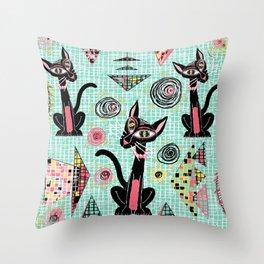 Geometric Cubist Hep Cats Throw Pillow