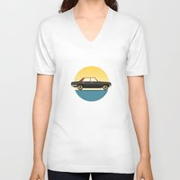 mercedes V-neck T-shirts featuring Mercedes 200 at Sunset by chucklehound