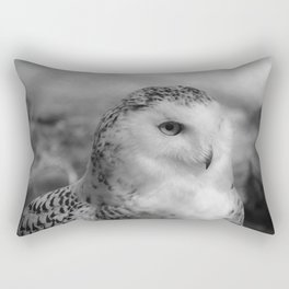 Snowy Owl - B & W Rectangular Pillow