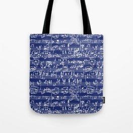 Hand Written Sheet Music // Midnight Blue Tote Bag
