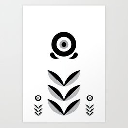 Retro Nordic Black & White Art Print