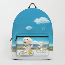 Cat and dog riding bicycle Backpack