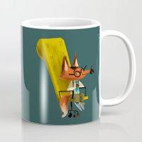 boss Mugs featuring Fox Boss by Chopsticksroad.