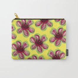 Geraldton Wax Flowers on Yellow - Australian Native Flower Carry-All Pouch