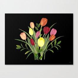 Tulips - black Canvas Print