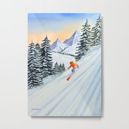 Skiing - The Clear Lady Leader Metal Print