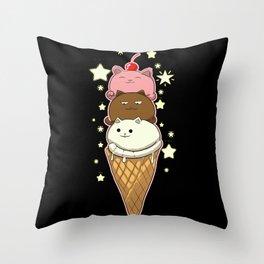 Cute Cat As Ice Cream Kawaii Throw Pillow