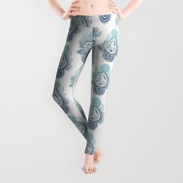 Paisley Capricornus | Turquoise Blue Ombré Leggings