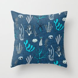 Sea Coral Classic Blue Throw Pillow