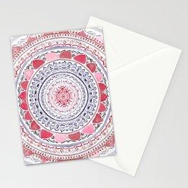 Red & Leisure Blue Mandala Stationery Cards