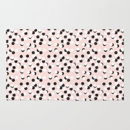 Hand drawn white and black drops and dots on pink Rug