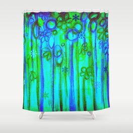 WINTER GARDEN -Bright Blue Green Neon Snowflake Floral Abstract Watercolor Painting and Digital Art Shower Curtain