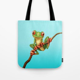 Cute Green Tree Frog on a Branch Tote Bag