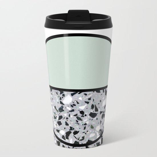 Minimal Modern Terrazzo Pattern Design Mint Green Metal Travel Mug