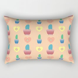 Cactus and hearts pastel pattern Rectangular Pillow