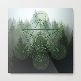 Pine Tree Sacred Geometry Metal Print