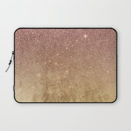 Pink Rose Gold Glitter and Gold Foil Mesh Laptop Sleeve